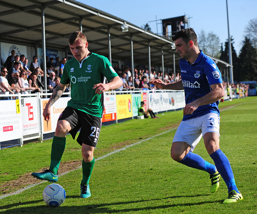 Lincoln City's Harry Anderson vies for possession with Eastleigh's Mike Green<br /> <br /> Photographer Andrew Vaughan/CameraSport<br /> <br /> Vanarama National League - Eastleigh v Lincoln City - Saturday 8th April 2017 - Silverlake Stadium - Eastleigh<br /> <br /> World Copyright &copy; 2017 CameraSport. All rights reserved. 43 Linden Ave. Countesthorpe. Leicester. England. LE8 5PG - Tel: +44 (0) 116 277 4147 - admin@camerasport.com - www.camerasport.com