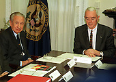 Former International Olympic Committee President Juan Antonio Samaranch passed away in Barcelona, Spain on Wednesday, April 21, 2010. He was 89 years old.  In this file photo dated December 14, 1999, United States National Drug Control Policy Director Barry McCaffrey (right) scans his notes during his meeting with Samaranch (left)  in Washington, D.C.  They discussed improving the World Anti-Doping Agency (WADA) which hopes to dispel the notion that athletes must chemically engineer their bodies in order to compete..Credit: Ron Sachs / CNP
