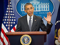 United States President Barack Obama makes a statement on the economy and closing tax loopholes called inversions that let big companies operate in the US without paying federal taxes in the Brady Press Briefing Room of the White House in Washington, DC on Tuesday, April 5, 2016. Photo Credit: Ron Sachs/CNP/AdMedia