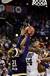 COLUMBUS, OH - APRIL 1: Jordan Danberry #24 of the Mississippi State Bulldogs tries to shoot the ball as Kristina Nelson #21 of the Notre Dame Fighting Irish  defends during the championship game of the 2018 NCAA Division I Women's Basketball Final Four at Nationwide Arena in Columbus, Ohio. (Photo by Justin Tafoya/NCAA Photos via Getty Images)