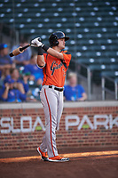 AZL Giants Orange Hunter Bishop (14) on deck during an Arizona League game against the AZL Cubs 1 on July 10, 2019 at Sloan Park in Mesa, Arizona. The AZL Giants Orange defeated the AZL Cubs 1 13-8. (Zachary Lucy/Four Seam Images)