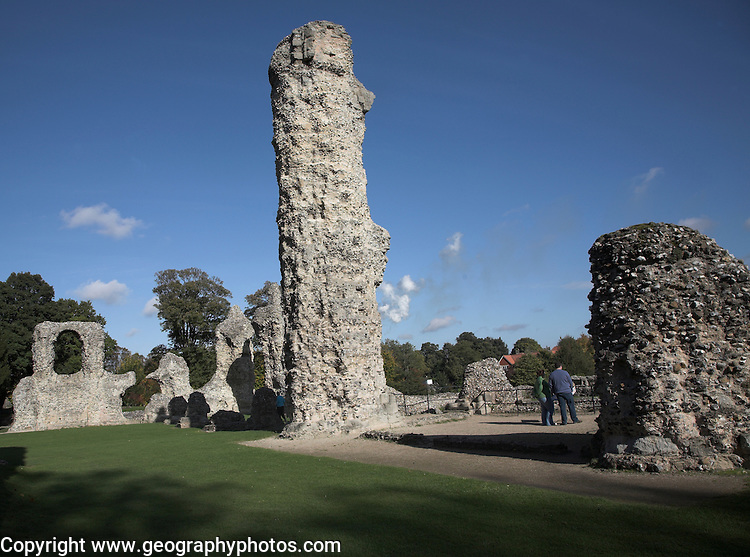 Abbey ruins, Bury St Edmunds, Suffolk, England. Here at Bury St Edmunds the misrule of King John was such that the barons came together in the Abbey Church and plotted to extract concessions from the King. On November 20th 1214 Cardinal Langton and twenty-five barons swore an oath to make King John accept these conditions, enshrined in the first ever documented Bill of Rights, the Magna Carta. The Abbey was sacked by local towns people in 1327 and then on the 20th January 1465, a great fire ravaged the Abbey. It destroyed all the roofs, and brought down the central tower and spire.
