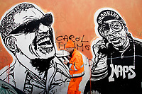 Title Wall of Fame, Artist  JB Rock, shown Ray Charles, Spike Lee<br /> This is a 60 meters mural showing famous faces like the Hall of Fame<br /> Rome February 7th 2019. Street Art in Rome, Ostiense<br /> district. Very important writers painted Murales in various districts of Rome to tell stories about the city, to commemorate important moments, to embellish the quarter or simply to portray it.  <br /> Photo Samantha Zucchi Insidefoto