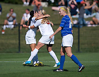 Makenzy Doniak (9) of Virginia celebrates her goal with a teammate  during the game at Klockner Stadium in Charlottesville, VA.  Virginia defeated Duke, 1-0.
