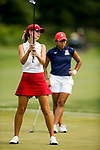 STILLWATER, OK - MAY 23: Cheyenne Knight of Alabama reacts to a putt as Bianca Paganganan of Arizona watches during the Division I Women's Golf Team Match Play Championship held at the Karsten Creek Golf Club on May 23, 2018 in Stillwater, Oklahoma. (Photo by Shane Bevel/NCAA Photos via Getty Images)