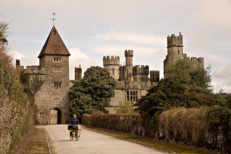 Delivery man in front of Lismore Castle, Ireland