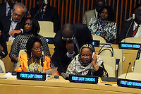NEW YORK, USA - SEPT 23, U.S. First Laydies meeting celebrate as part of the 69th United Nations General Assembly  Olive Lembe Kabila; First Lady of the Democratic Republic of Congo; Mrs. Hadidja Aboubakar Ikililou Dhoinine; First Lady of the Comoros.23.2014 photo by VIEWpress