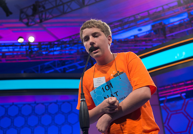 Speller 101 Nat Jordan competes in the preliminary rounds of the Scripps National Spelling Bee at the Gaylord National Resort and Convention Center in National Habor, Md., on Wednesday,  May 30, 2012. Photo by Bill Clark