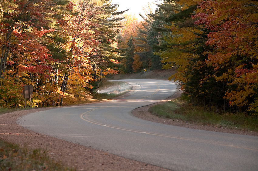 Fall color along H-13 in the Hiawatha National Forest near Munising Michigan.