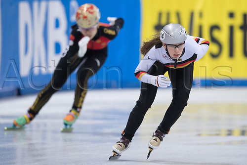 01 February 2019, Saxony, Dresden: Shorttrack: World Cup, quarter finals, 1500 meters women in the EnergieVerbund Arena. Lisa Eckstein from Germany on the track.