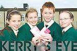 The write stuff: Rebekah Garvey, Erin Finucane, Ciaran O'Hara-Smith and Evaun McElligott, pupils of Gaelscoil Lios Tuathail who were winners in the Irish Pride Essay Contest.