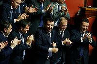 Matteo Salvini surrounded by his senators<br /> Rome December 12th 2019. Speech of the Italian Premier about MES, European Stability Mechanism.<br /> Foto Samantha Zucchi Insidefoto