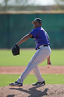 Colorado Rockies relief pitcher Moises Ceja (77) during a Minor League Spring Training game against the Milwaukee Brewers at Salt River Fields at Talking Stick on March 17, 2018 in Scottsdale, Arizona. (Zachary Lucy/Four Seam Images)