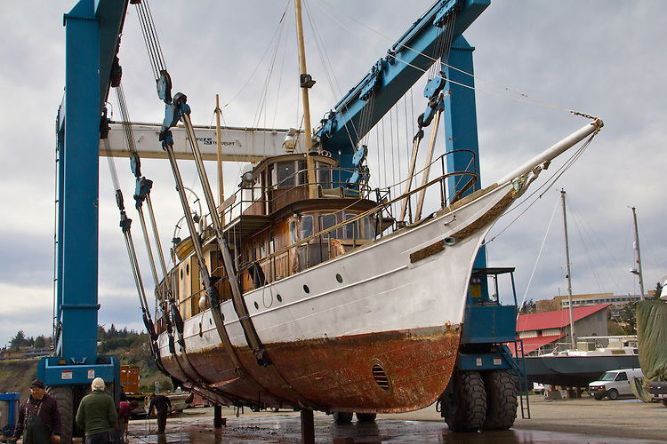 Port Townsend, Boat Haven, Yacht, El Primero, 1893 steam yacht, hauled out by a Marine Treavelift, Port of Port Townsend, boatyards, Jefferson County, Olympic Peninsula, Puget Sound, Washington State, Pacific Northwest, USA,
