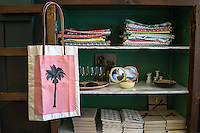 A bag from the 'Daun With It' collection hangs on a display cabinet in Nala Designs in Bangsar, Kuala Lumpur, Malaysia, on 18 August 2015. Nala Designs, by founder and designer Lisette Scheers, is inspired by Malaysia's melting pot of Chinese, Malay and Indian cultures. Photo by Suzanne Lee for Monocle