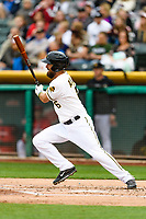 Dustin Ackley (6) of the Salt Lake Bees follows through on his swing against the Sacramento River Cats during the Pacific Coast League game at Smith's Ballpark on August 11, 2017 in Salt Lake City, Utah.The River Cats defeated the Bees 8-7. (Stephen Smith/Four Seam Images)