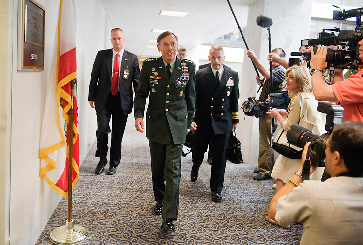 UNITED STATES - JUNE 15:  General David Petraeus, Commander of U.S. Forces in Afghanistan and nominee to be the next Director of the Central Intelligence Agency (CIA), arrives for a meeting in Hart Building with Sen. Dianne Feinstein, D-Calif., Chairman of the Senate Intelligence Committee.  (Photo By Tom Williams/Roll Call)