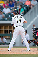 Chris Marrero (14) of the Charlotte Knights at bat against the Indianapolis Indians at BB&T BallPark on June 20, 2015 in Charlotte, North Carolina.  The Knights defeated the Indians 6-5 in 12 innings.  (Brian Westerholt/Four Seam Images)