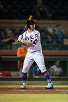 Scottsdale Scorpions first baseman Peter Alonso (20), of the New York Mets organization, at bat during an Arizona Fall League game against the Mesa Solar Sox on October 9, 2018 at Scottsdale Stadium in Scottsdale, Arizona. The Solar Sox defeated the Scorpions 4-3. (Zachary Lucy/Four Seam Images)