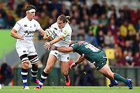 Max Clark of Bath Rugby takes on the Leicester Tigers defence. Aviva Premiership match, between Leicester Tigers and Bath Rugby on September 3, 2017 at Welford Road in Leicester, England. Photo by: Patrick Khachfe / Onside Images