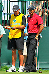 30 August 2009: Tiger Woods and caddie Steve Williams on the 1st tee in the final round of The Barclays PGA Playoffs at Liberty National Golf Course in Jersey City, New Jersey.