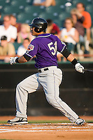 Right fielder Bronson Sardinha (51) of the Akron Aeros follows through on his swing at Prince Georges Stadium in Bowie, MD, Tuesday June 17, 2008.