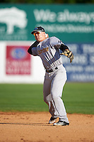Trenton Thunder second baseman Billy Fleming (15) throws to first base during the first game of a doubleheader against the Hartford Yard Goats on June 1, 2016 at Sen. Thomas J. Dodd Memorial Stadium in Norwich, Connecticut.  Trenton defeated Hartford 4-2.  (Mike Janes/Four Seam Images)