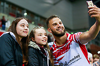 Picture by Alex Whitehead/SWpix.com - 11/05/2018 - Rugby League - Ladbrokes Challenge Cup - Leigh Centurions v Salford Red Devils - Leigh Sports Village, Leigh, England - Leigh's Ben Crooks celebrates with the fans after the win.