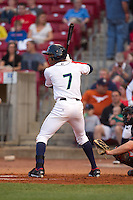 Cedar Rapids Kernels outfielder Byron Buxton #7 bats during a game against the Lansing Lugnuts at Veterans Memorial Stadium on April 29, 2013 in Cedar Rapids, Iowa. (Brace Hemmelgarn/Four Seam Images)