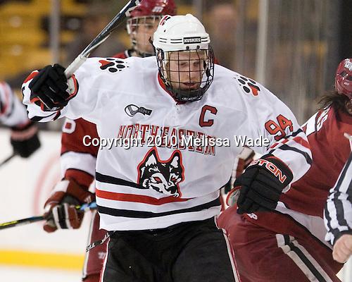 Tyler McNeely (NU - 94) - The Northeastern University Huskies defeated the Harvard University Crimson 4-1 (EN) on Monday, February 8, 2010, at the TD Garden in Boston, Massachusetts, in the 2010 Beanpot consolation game.