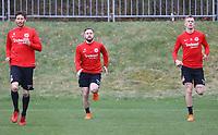 David Abraham (Eintracht Frankfurt), Marc Stendera (Eintracht Frankfurt), Marius Wolf (Eintracht Frankfurt) - 04.04.2018: Eintracht Frankfurt Training, Commerzbank Arena