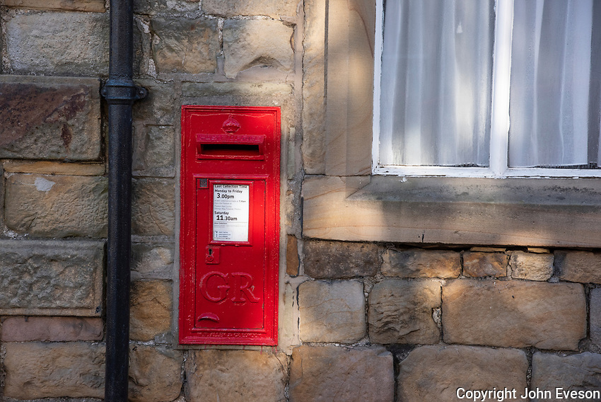Royal Mail post box, Slaidburn village, Clitheroe, Lancashire.