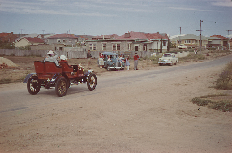 Vintage car rally 1956 , driving through seaford