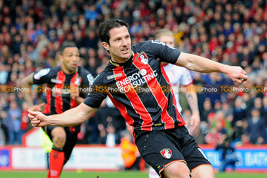Yann Kermorgant of AFC Bournemouth watches his penalty hit the net - AFC Bournemouth vs Middlesbrough - Sky Bet Championship Football at the Goldsands Stadium, Bournemouth, Dorset - 21/03/15 - MANDATORY CREDIT: Denis Murphy/TGSPHOTO - Self billing applies where appropriate - contact@tgsphoto.co.uk - NO UNPAID USE