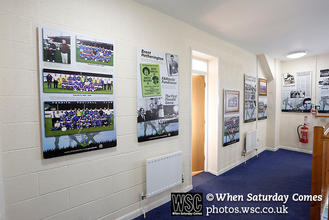 Display boards in the main stand celebrating Penrith's history. Penrith AFC V Hebburn Town, Northern League Division One, 22nd December 2018. Penrith are the only Cumbrian team in the Northern League. All the other teams are based across the Pennines in the north east.<br /> Penrith, winless at kick off, lost a thriller 3-4, in front of 100 people. They won five games all season, but were reprieved from relegation following Blyth's resignation from the league.