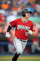 Carolina Mudcats third baseman Jordan Edgerton (13) runs to first base during a game against the Frederick Keys on June 4, 2016 at Nymeo Field at Harry Grove Stadium in Frederick, Maryland.  Frederick defeated Carolina 5-4 in eleven innings.  (Mike Janes/Four Seam Images)
