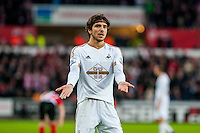 Alberto Paloschi of Swansea City  reacts during the Barclays Premier League match between Swansea City and Southampton  played at the Liberty Stadium, Swansea  on February 13th 2016