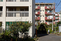 The Kasuigaoka Apartments near the old Olympic stadium in Ganiemmae will be demolished and its residents moved to make way for the controversial new facilities for the 2020 Olympic Games Tokyo, Japan. Friday October 24th 2014