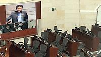 BOGOTA -COLOMBIA. 17-SEPTIEMBRE-2014. El senador  Ivan Cepeda durante su intervencion contra el senador y expresidente de Colombia Alvaro Uribe quien abandono el senado junto con sus colegas de bancada  .Debate convocado por el senador Ivan Cepeda contra el senador Alvaro Uribe sobre paramilitarismo. / Senator Ivan Cepeda during his speech against Senator and former president of Colombia Alvaro Uribe who left the Senate with his caucus colleagues .Debate convened by Senator Ivan Cepeda against Senator Alvaro Uribe on paramilitaries.. Photo: VizzorImage/ Felipe Caicedo / Staff