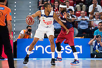 Real Madrid's player Anthony Randolph and FC Barcelona Lassa's player Tyrese Rice during the match of the semifinals of Supercopa of La Liga Endesa Madrid. September 23, Spain. 2016. (ALTERPHOTOS/BorjaB.Hojas)