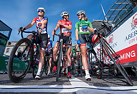 Picture by Allan McKenzie/SWpix.com - 17/05/2018 - Cycling - OVO Energy Tour Series Womens Race - Round 2:Aberdeen - Ejay Harris with Nicola Juniper and Jess Roberts as the teams are gridded.