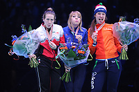 SHORT TRACK: ROTTERDAM: Ahoy, 12-03-2017, KPN ISU World Short Track Championships 2017, Podium 1000m Ladies, Marianne St-Gelais (CAN), Elise Christie (GBR), Suzanne Schulting (NED), ©photo Martin de Jong