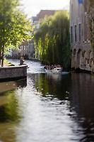 Belgique, Flandre-Occidentale, Bruges, centre historique classé Patrimoine Mondial de l'UNESCO,, Canal Groenerei (Canal vert)  //  Belgium, Western Flanders, Bruges, historical centre listed as World Heritage by UNESCO,  Groenerei Canal, (Green Canal)