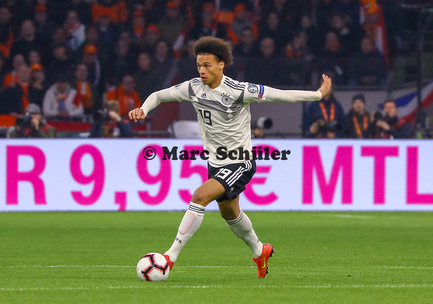 Leroy Sane (Deutschland Germany) - 24.03.2019: Niederlande vs. Deutschland, EM-Qualifikation, Amsterdam Arena, DISCLAIMER: DFB regulations prohibit any use of photographs as image sequences and/or quasi-video.