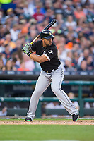 Jose Abreu (79) of the Chicago White Sox at bat against the Detroit Tigers at Comerica Park on June 2, 2017 in Detroit, Michigan.  The Tigers defeated the White Sox 15-5.  (Brian Westerholt/Four Seam Images)