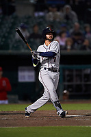Lancaster JetHawks designated hitter Forrest Wall (7) follows through on his swing during a California League game against the Inland Empire 66ers at San Manuel Stadium on May 18, 2018 in San Bernardino, California. Lancaster defeated Inland Empire 5-3. (Zachary Lucy/Four Seam Images)