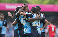 Wycombe celebrate as Aaron Amadi Holloway of Wycombe Wanderers scores to make it 2-0 during the Sky Bet League 2 match between Wycombe Wanderers and York City at Adams Park, High Wycombe, England on 8 August 2015. Photo by Andy Rowland.