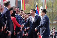 Pictured: Greek Prime Alexis Tsipras with Northern Macedonian Prime Minister Zoran Zaev. Tuesday 02 April 2019<br /> Re: The Greek prime minister, Alexis Tsipras, has begun a historic visit to his newly named neighbour of North Macedonia, meeting North Macedonian counterpart Zoran Zaev, two months after brokering a landmark deal to end a row that spawned almost three decades of hostility between the two countries.