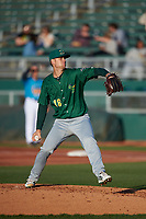 Beloit Snappers starting pitcher Bryce Nightengale (18) during a Midwest League game against the Lansing Lugnuts at Cooley Law School Stadium on May 4, 2019 in Lansing, Michigan. Beloit defeated Lansing 2-1. (Zachary Lucy/Four Seam Images)