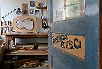 NWA Democrat-Gazette/DAVID GOTTSCHALK The entrance of Aviva Steigmeyer's guitar making shop Preservation Guitar Company Tuesday, March 26, 2019, in Fayetteville. Steigmeyer is also a member in the musical group The Ozark Highballers.